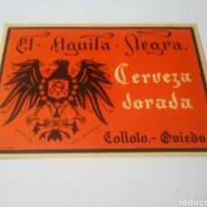 Coleccionismo de cervezas: CERVEZAS ÁGUILA NEGRA ANTIGUA ETIQUETA - CERVEZA DORADA. Lote 194894041