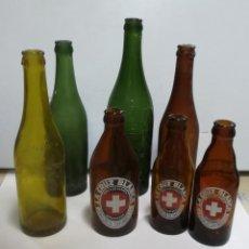 Coleccionismo de cervezas: LOTE DE 7 BOTELLAS CERVEZA. VACIAS. VER FOTOS. LEER DESCRIPCION. Lote 183792800