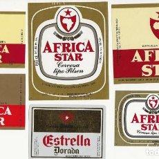 Coleccionismo de cervezas: LOTE 6 ETIQUETAS DE LA ESTRELLA DE AFRICA. Lote 183927661