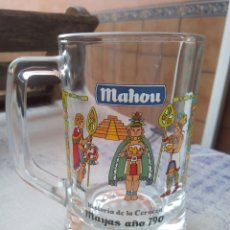 Coleccionismo de cervezas: JARRA CERVEZA MAHOU - HISTORIA DE LA CERVEZA - MAYAS. Lote 184254935