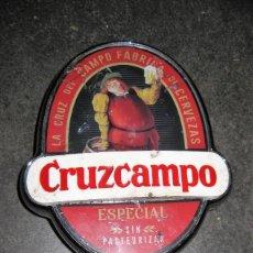Coleccionismo de cervezas: PIEZA GRIFO SURTIDOR PUBLICIDAD CERVEZA CRUZ CAMPO 19 /10/3 CM METALICO CROMADO Y PLASTICO CARTEL. Lote 184808273