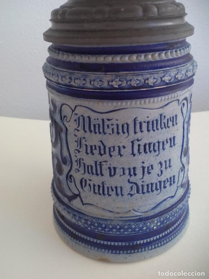 Coleccionismo de cervezas: JARRA DE CERVEZA ALEMANA CON TAPA, Mäßig trinken Lieder singen half von je zu guten Dingen - Foto 2 - 186198601