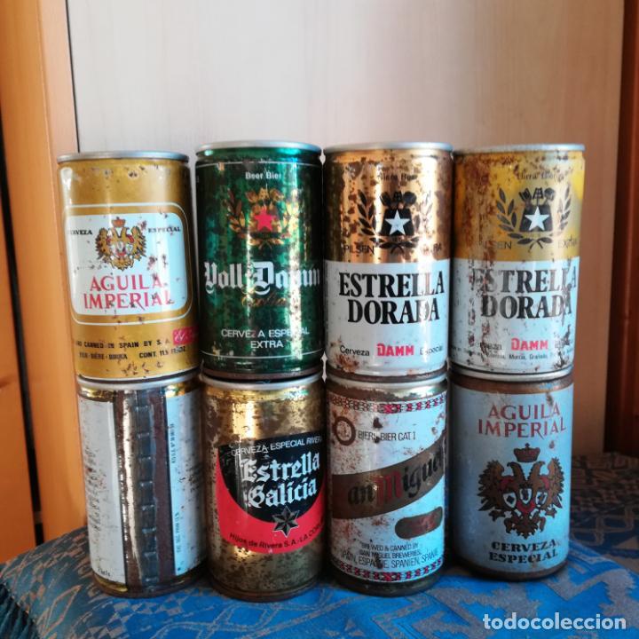 Coleccionismo de cervezas: 8 latas de cerveza españolas sin abrir naranjito estrella galicia skol san miguel voll daam aguila - Foto 2 - 186201080