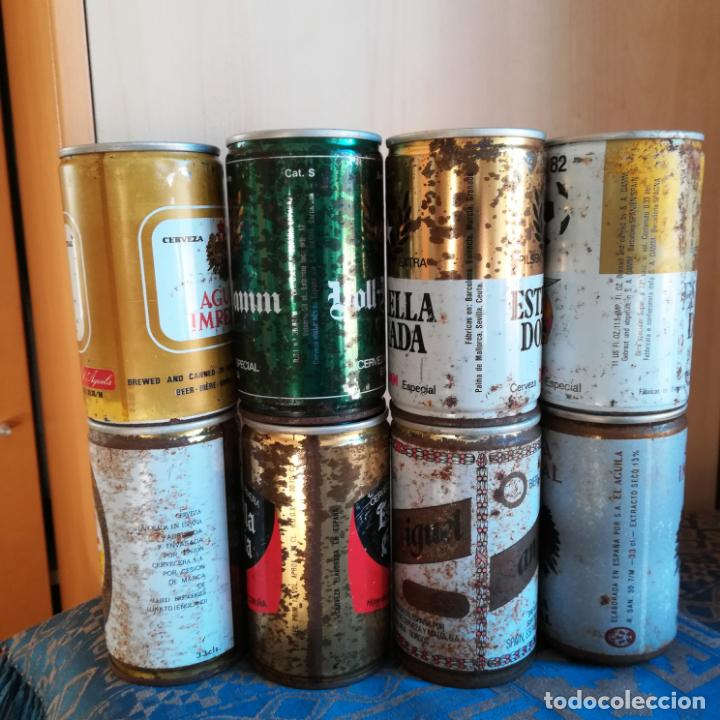 Coleccionismo de cervezas: 8 latas de cerveza españolas sin abrir naranjito estrella galicia skol san miguel voll daam aguila - Foto 3 - 186201080