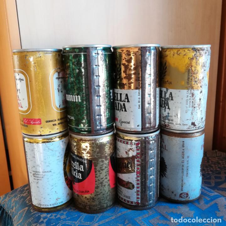 Coleccionismo de cervezas: 8 latas de cerveza españolas sin abrir naranjito estrella galicia skol san miguel voll daam aguila - Foto 4 - 186201080