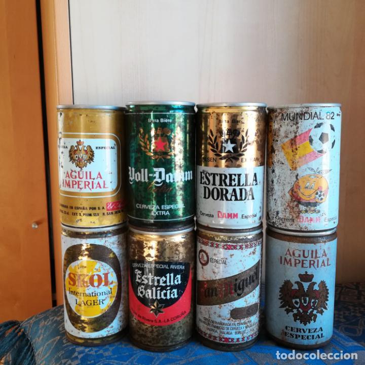 8 LATAS DE CERVEZA ESPAÑOLAS SIN ABRIR NARANJITO ESTRELLA GALICIA SKOL SAN MIGUEL VOLL DAAM AGUILA (Coleccionismo - Botellas y Bebidas - Cerveza )