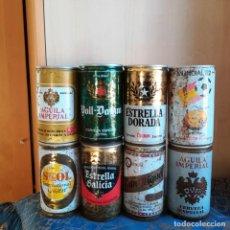 Coleccionismo de cervezas: 8 LATAS DE CERVEZA ESPAÑOLAS SIN ABRIR NARANJITO ESTRELLA GALICIA SKOL SAN MIGUEL VOLL DAAM AGUILA. Lote 186201080