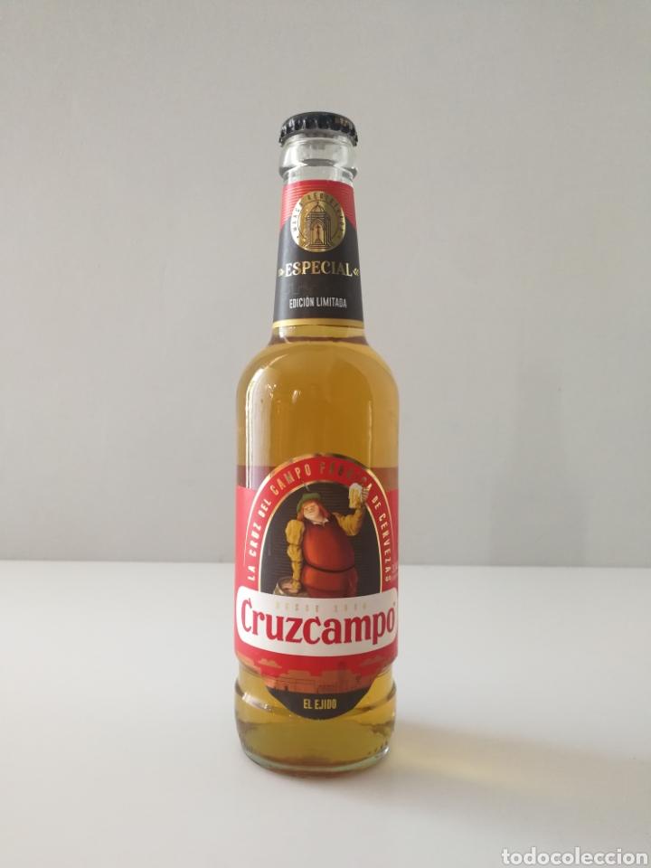 FALLO DE PRODUCCIÓN EN BOTELLA DE CERVEZA CRUZCAMPO EDICIÓN LIMITADA (Coleccionismo - Botellas y Bebidas - Cerveza )