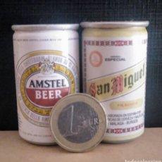 Coleccionismo de cervezas: MINI LATAS DE CERVEZA AMSTEL Y SAN MIGUEL. Lote 186230963