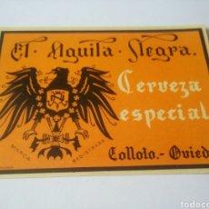 Coleccionismo de cervezas: ETIQUETA ANTIGUA CERVEZAS ÁGUILA NEGRA - CERVEZA ESPECIAL. Lote 188478500