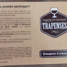 Coleccionismo de cervezas: SPENCER - PASAPORTE CERVECERO- CERVEZA TRAPENSE EEUU. Lote 191224372