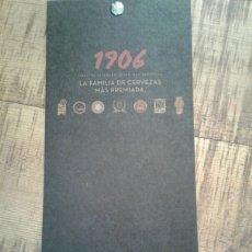 Coleccionismo de cervezas: ESTRELLA DE GALICIA 1906 - CARTA DE CATAS -1906 RESERVA , 1906 RED VINTAGE, 1906 BLACK COUPAGE. Lote 191335852