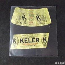 Coleccionismo de cervezas: CERVEZA-V9ET-III-ETIQUETAS-KELER-SAN SEBASTIAN. Lote 191814096