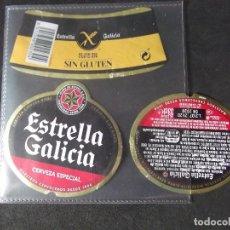 Coleccionismo de cervezas: CERVEZA-V9ET-III-ETIQUETAS-ESTRELLA GALICIA-ESPECIAL-SIN GLUTEN. Lote 191815016