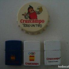 Coleccionismo de cervezas: MECHEROS TIPO ZIPPO Y ABRIDOR CERVEZA CRUZ CAMPO. Lote 192055610