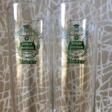 Coleccionismo de cervezas: VASOS TUBO CERVEZA ALCAZAR DE JAEN, DOS. Lote 192786441