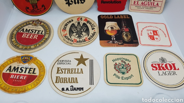 Coleccionismo de cervezas: LOTE POSAVASOS AÑOS 80 CERVEZAS EL AGUILA AMSTEL SKOL FLORIDA ESTRELLA DORADA Y MAS - Foto 3 - 195385578