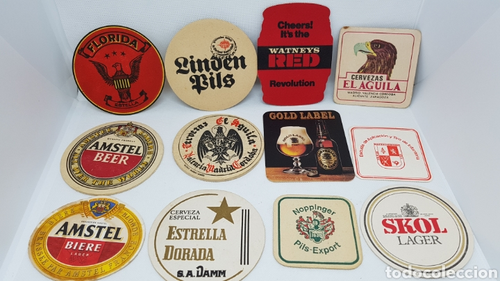 LOTE POSAVASOS AÑOS 80 CERVEZAS EL AGUILA AMSTEL SKOL FLORIDA ESTRELLA DORADA Y MAS (Coleccionismo - Botellas y Bebidas - Cerveza )