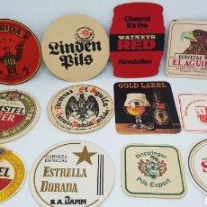 Coleccionismo de cervezas: LOTE POSAVASOS AÑOS 80 CERVEZAS EL AGUILA AMSTEL SKOL FLORIDA ESTRELLA DORADA Y MAS. Lote 195385578