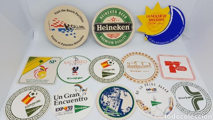LOTE POSAVASOS AÑOS 80 Y 90 CORTE INGLES EXPO 92 MUNDIAL ESPAÑA 82 GALERIAS PRECIADOS XACOBEO CURRO (Coleccionismo - Botellas y Bebidas - Cerveza )