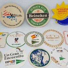 Coleccionismo de cervezas: LOTE POSAVASOS AÑOS 80 Y 90 CORTE INGLES EXPO 92 MUNDIAL ESPAÑA 82 GALERIAS PRECIADOS XACOBEO CURRO. Lote 195386202