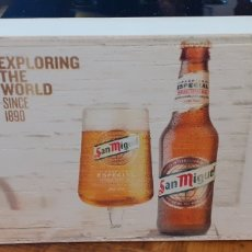 Coleccionismo de cervezas: SAN MIGUEL EXPLORING THE WORLD /0,0 - SERVILLETERO DE MADERA - CERVEZA LLEIDA. Lote 195390098
