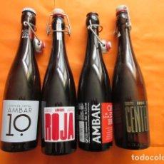 Coleccionismo de cervezas: LOTE 4 BOTELLA CERVEZA AMBAR VACIAS TAL Y COMO SE VEN EN LAS FOTOS. Lote 197403255