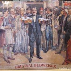 Coleccionismo de cervezas: PUBLICIDAD CHAPA METÁLICA CERVEZA ORIGINAL BUDWEISER. BUDVAR. 37 X 48 CM. Lote 199711283