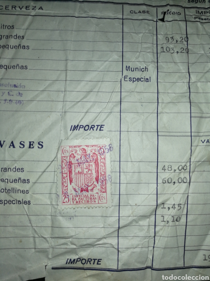 Coleccionismo de cervezas: FACTURA CERVEZAS EL LÉON 1956,CON SELLO. SAN SEBASTIÁN. GIPUZKOA. JUAN Y TEODORO KUTZ. - Foto 3 - 201367225