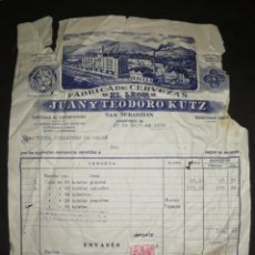 Coleccionismo de cervezas: FACTURA CERVEZAS EL LÉON 1956,CON SELLO. SAN SEBASTIÁN. GIPUZKOA. JUAN Y TEODORO KUTZ.. Lote 201367225