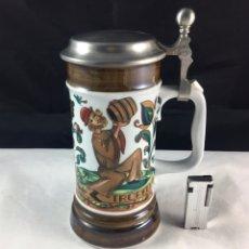 Coleccionismo de cervezas: JARRA DE CERVEZA EN PORCELANA ALEMANA-BAVARIA (NUMERADA Y SELLADA). Lote 86423336