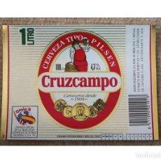 Coleccionismo de cervezas: ETIQUETA DE CERVEZA DE LA MARCA CRUZCAMPO. 1 LITRO. USA 94.. Lote 228515750