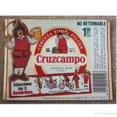 Coleccionismo de cervezas: ETIQUETA DE CERVEZA DE LA MARCA CRUZCAMPO. 1 LITRO N/R. GAMBRINUS. Lote 228515770
