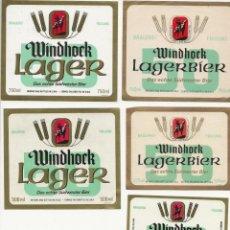 Coleccionismo de cervezas: LOTE DE 5 ANTIGUAS ETIQUETAS DE NAMIBIA. Lote 203366867