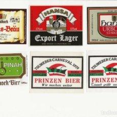 Coleccionismo de cervezas: LOTE DE 6 ANTIGUAS ETIQUETAS DE NAMIBIA. Lote 203368032