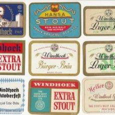 Coleccionismo de cervezas: LOTE DE 9 ANTIGUAS ETIQUETAS DE NAMIBIA. Lote 203368486