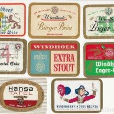 Coleccionismo de cervezas: LOTE 8 ANTIGUAS ETIQUETAS DE NAMIBIA. Lote 203368917