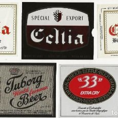 Coleccionismo de cervezas: LOTE DE 5 ETIQUETAS DE TÚNEZ. Lote 203567275