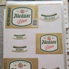 Coleccionismo de cervezas: LOTE COLECCION DE ETIQUETAS DE CERVEZA POCO VISTAS Y EN PERFECTO ESTADO ALCAZAR. Lote 204999462