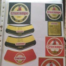 Coleccionismo de cervezas: LOTE COLECCION DE ETIQUETAS DE CERVEZA POCO VISTAS Y EN PERFECTO ESTADO CRUZCAMPO. Lote 205000863