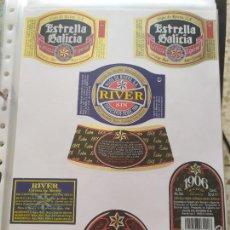 Coleccionismo de cervezas: LOTE COLECCION DE ETIQUETAS DE CERVEZA POCO VISTAS Y EN PERFECTO ESTADO ESTRELLA GALICIA RIVER. Lote 205002040