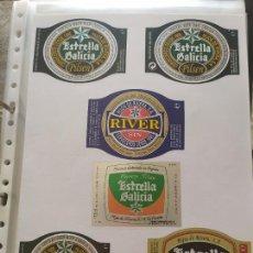 Coleccionismo de cervezas: LOTE COLECCION DE ETIQUETAS DE CERVEZA POCO VISTAS Y EN PERFECTO ESTADO ESTRELLA GALICIA RIVER ETC. Lote 205002336
