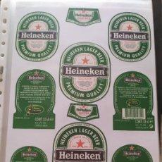 Coleccionismo de cervezas: LOTE COLECCION DE ETIQUETAS DE CERVEZA POCO VISTAS Y EN PERFECTO ESTADO HEINEKEN. Lote 205004452