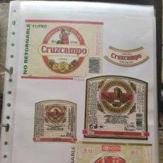 Coleccionismo de cervezas: LOTE COLECCION DE ETIQUETAS DE CERVEZA POCO VISTAS Y EN PERFECTO ESTADO SUREÑA CRUZCAMPO ETC. Lote 205004927