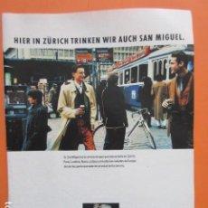 Coleccionismo de cervezas: PUBLICIDAD 1990 - CERVEZA SAN MIGUEL TRANVIA ZURICH - TAMAÑO 22,5 X 30 CM. Lote 205764823