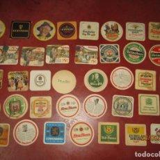 Coleccionismo de cervezas: ANTIGUO LOTE DE 38 POSAVASOS DIFERENTES DE MARCAS DE CERVEZA CERVEZAS. Lote 205842261