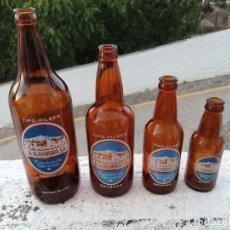 Coleccionismo de cervezas: 4 BOTELLAS ANTIGUAS DE CERVEZA ALHAMBRA GRANADA LITRO MEDIO TERCIO Y QUINTO. Lote 205868482