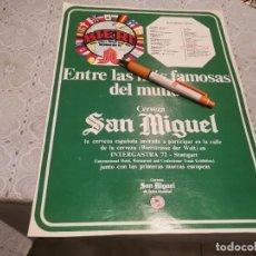 Coleccionismo de cervezas: CERVEZA SAN MIGUEL DE FAMA MUNDIAL ANTIGUO ANUNCIO PUBLICIDAD REVISTA ÚNICO EN TC!!!. Lote 206833490