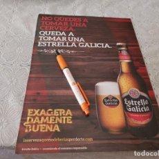 Coleccionismo de cervezas: CERVEZA ESTRELLA GALICIA ANUNCIO PUBLICIDAD REVISTA PAPEL GRUESO. Lote 206997513