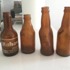 Coleccionismo de cervezas: 4 BOTELLINES DE CERVEZA. MAHOU Y CRUZ BLANCA. MUY ANTIGUOS. Lote 211419096